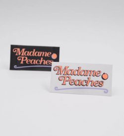 printed on woven labels peaches