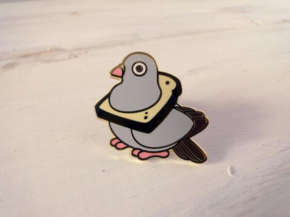 Bread Pigeon Enamel Pin by Red Ribbon Shoppe
