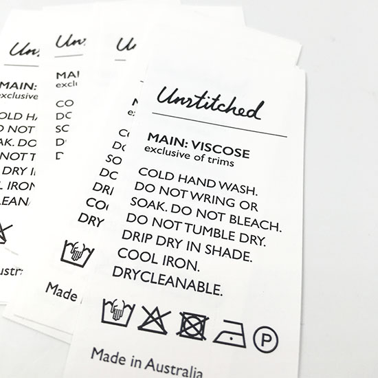 Custom care labels